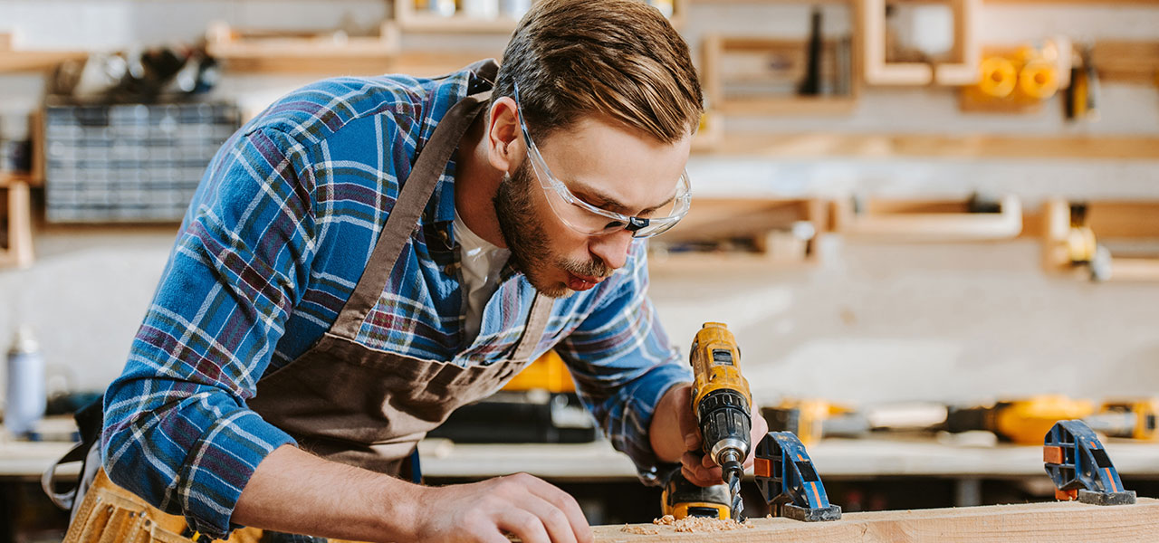 man wearing safety glasses